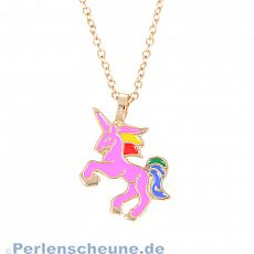 Kinderkette Einhorn rosa aus Emaille gold