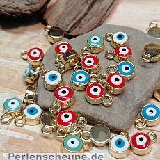 4 Charms Kettenanhänger klein rund Auge Emaille gold 10 mm