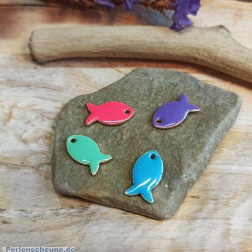 4 Charms Kettenanhänger Ohranhänger Fisch Emaille gold 14 mm