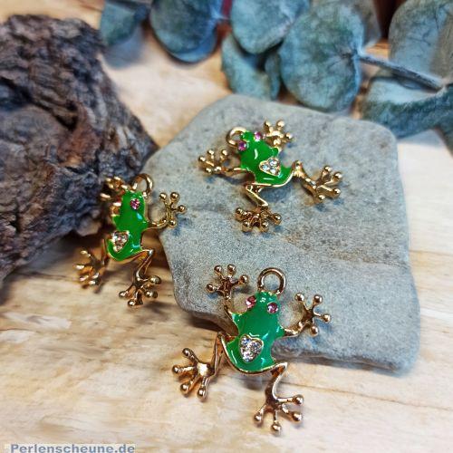 2 Charms Kettenanhänger Ohranhänger Frosch Emaille gold grün Strass 21 mm