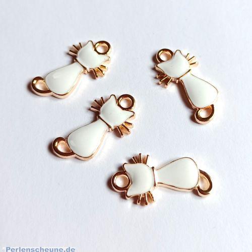 2 Kettenanhänger Ohranhänger Katze Emaille weiss gold 22 x 11 mm