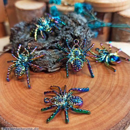 2 Kettenanhänger Ohranhänger Spinne feuerpoliert irisierend 25 mm