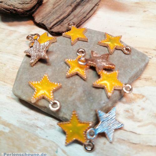 2 Charms Kettenanhänger kleiner Stern Emaille gelb Glitzer rosegold 16 mm