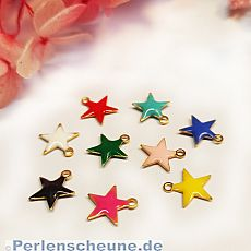 4 Charms Kettenanhänger Ohranhänger Stern Emaille gold 10 mm