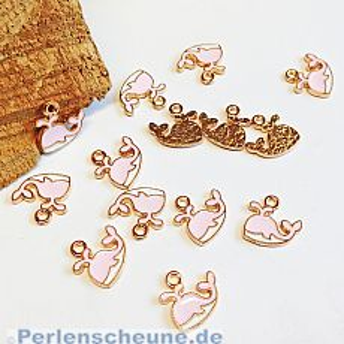 2 Kettenanhänger kleiner Wal Emaille rosa weiss gold 14 mm