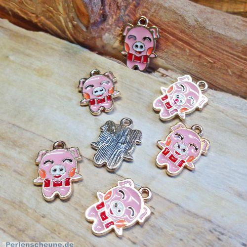 2 Ohranhänger, Kettenanhänger Glücksschwein Emaille rosa19 mm
