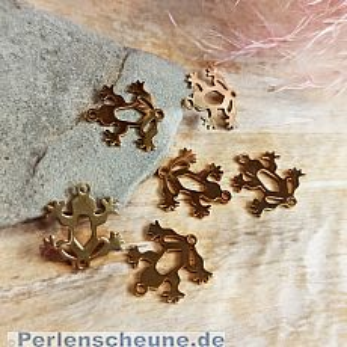 Schmuckverbinder Edelstahl Frosch gold 16 mm