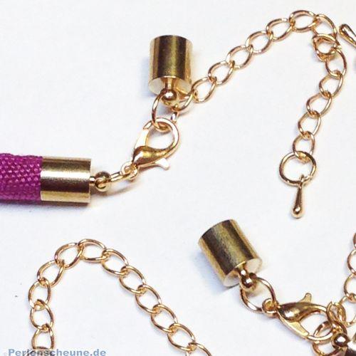 1 Komplettverschluß Karabinerhaken Hülsen gold für Kette 5 mm