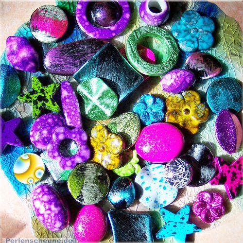 20 große fancy acrylic Perlen bunter Mix 16 - 40 mm