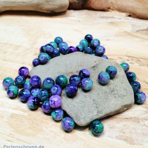 Perlenset 30 Glasperlen lila grün Tinteneffekt 6 mm Kugel