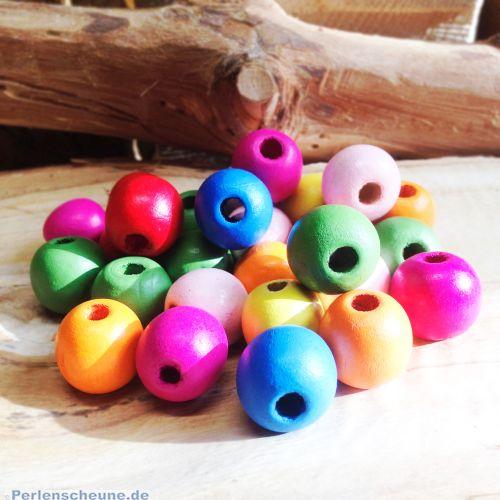 20 grosse Kinderperlen Holzperlen Kugeln bunt 20 mm Grossloch