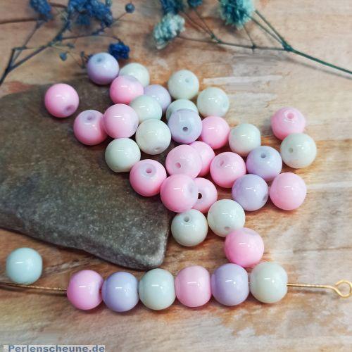 30 Glasperlen opak Kugeln im Set weiss rosa lila 8 mm