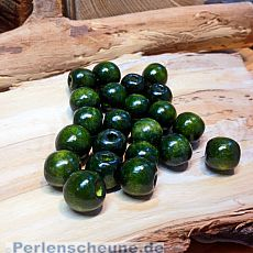 20 große Kinderperlen Holzperlen khaki dunkel 16 mm