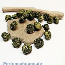 Perlenset 20 schöne fancy Acrylperlen Blume dunkelgrün 12 mm