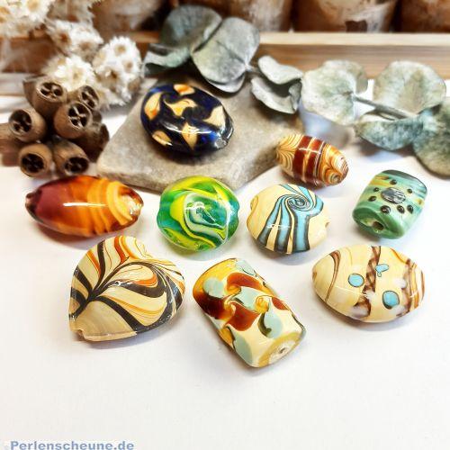 10 versch. Lampwork Glasperlen handmade 20 - 32 mm