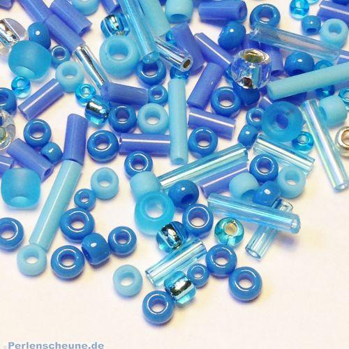 Japan. TOHO Rocailles Glasperlen Mix blau türkis 20 g