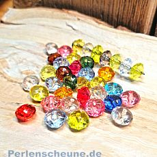 Kinder Perlenset Rondelle 30 fancy faceted Perlenmix 10 mm