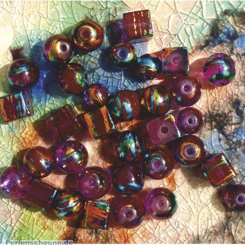 30 Glasperlen Cosmos Style 6-10 mm lila