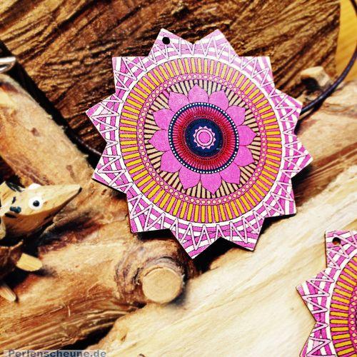 2 große Mandala Holzanhänger 60 mm