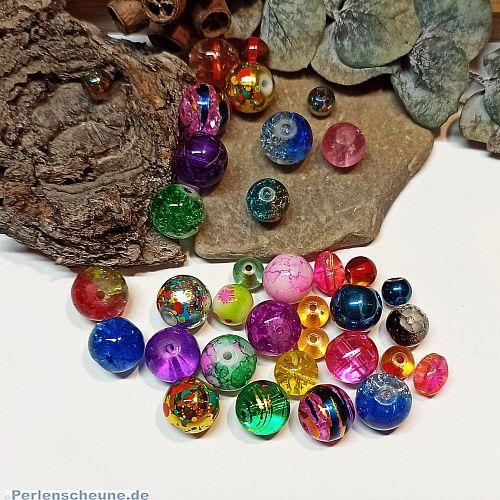Glasperlenmix 100 bunte besondere Glasperlen 6 - 10 mm