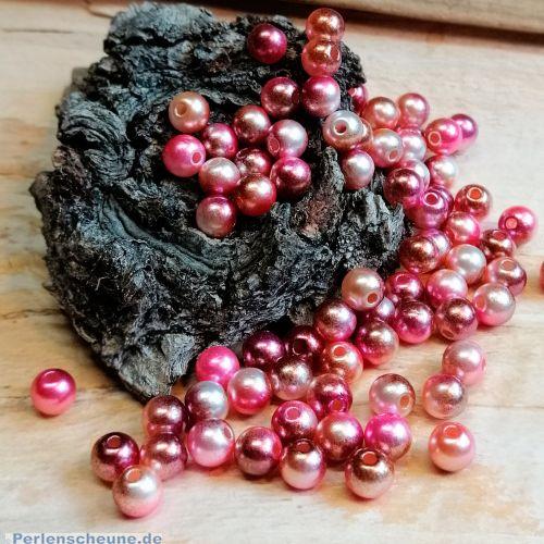 40 Acrylperlen metallisch rosa besprüht 6 mm Loch 1,5 mm