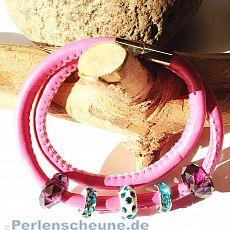 weiches PU-Lederarmband rosa mit Grosslochperlen Magnetverschluss