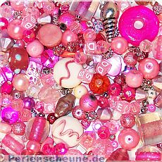 über 100 Perlenset rosa Pink 80g Materialmix 6 - 25 mm