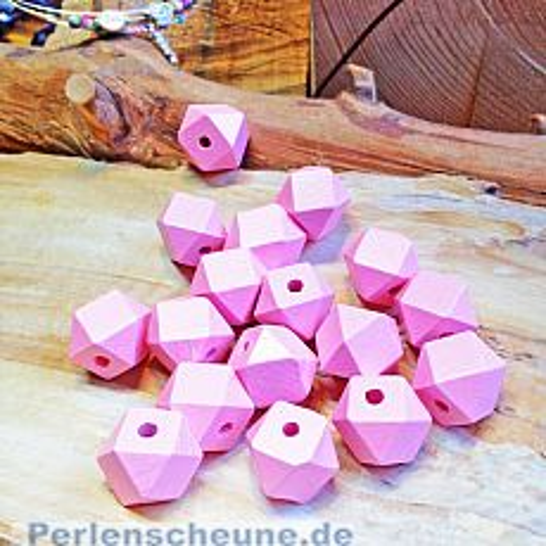 6 große Hinoki Holzperlen rosa Viel-Eck 14 mm Loch 4 mm