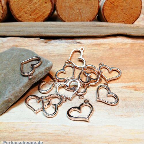 4 Kettenanhänger Herz rose gold 15 mm