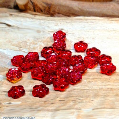 10 Glasperlen Blumenform 8 mm rot