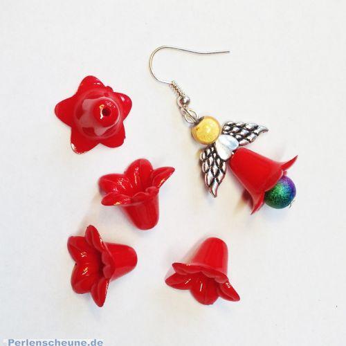 10 rote Blumenperlen Tulpe Engelanhänger 16 mm