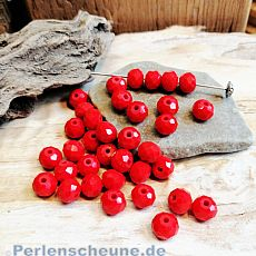 40 Glasperlen Abacus Faceted 6 x 4 mm rot