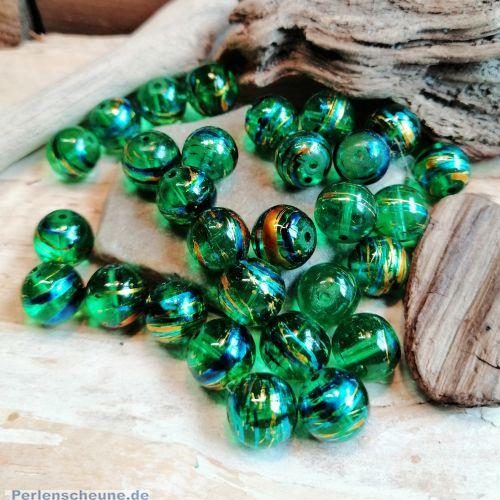 20 Glasperlen Kugelform 10 mm smaragdgrün draw bench
