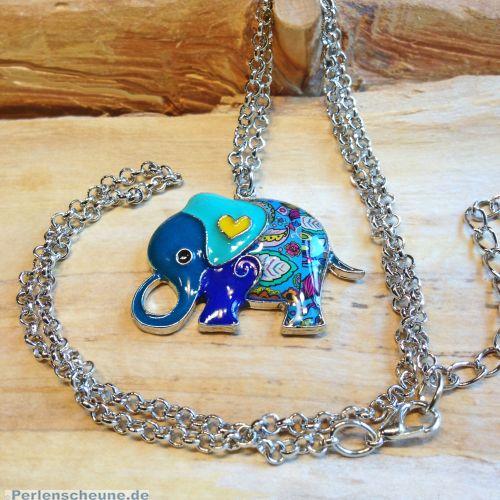 Designer Halskette mit Elefant blau buntes Emaille