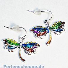 1 Set Ohrringe mit Anhänger Libelle silber Emaille