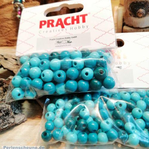 105 Holzperlen türkis grüntönig Lutsch- und Speichelfest 6 mm