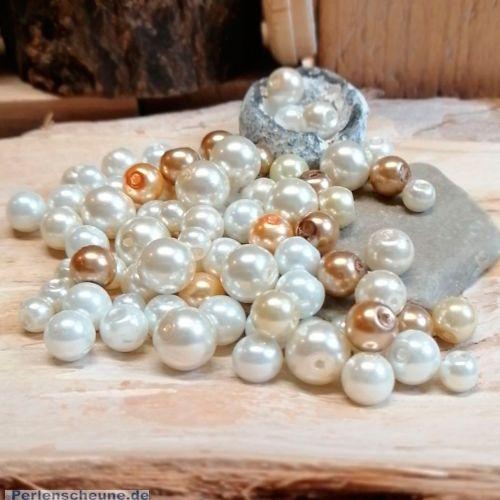 Perlenset 100 Glaswachsperlen weiß beige 6 - 10 mm