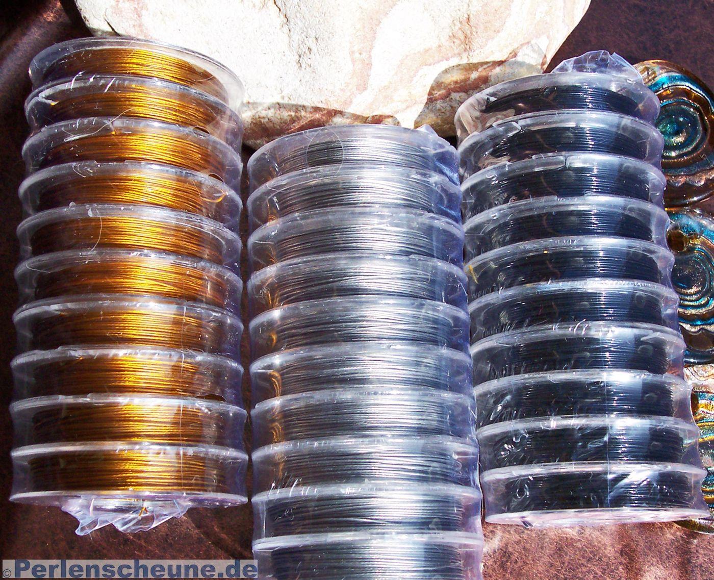 Schmuckdraht Juwelierdraht Edelstahldraht 100m Rolle Stahlseil ummantelt 0,4mm pearl silver zum Schmuck selbermachen mit Perlen und Zubeh/ör von Creative-Beads