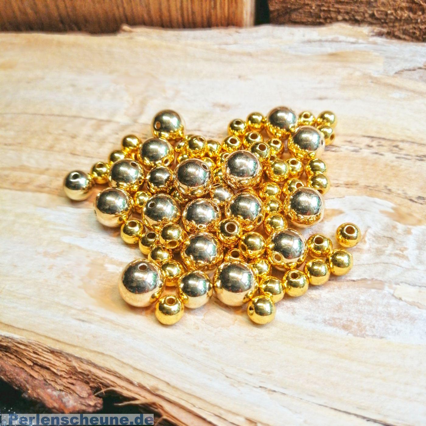 100 Metall Kugel Perle gold 6 mm Zwischenperlen Spacer Loch ca 2,8 mm Ketten