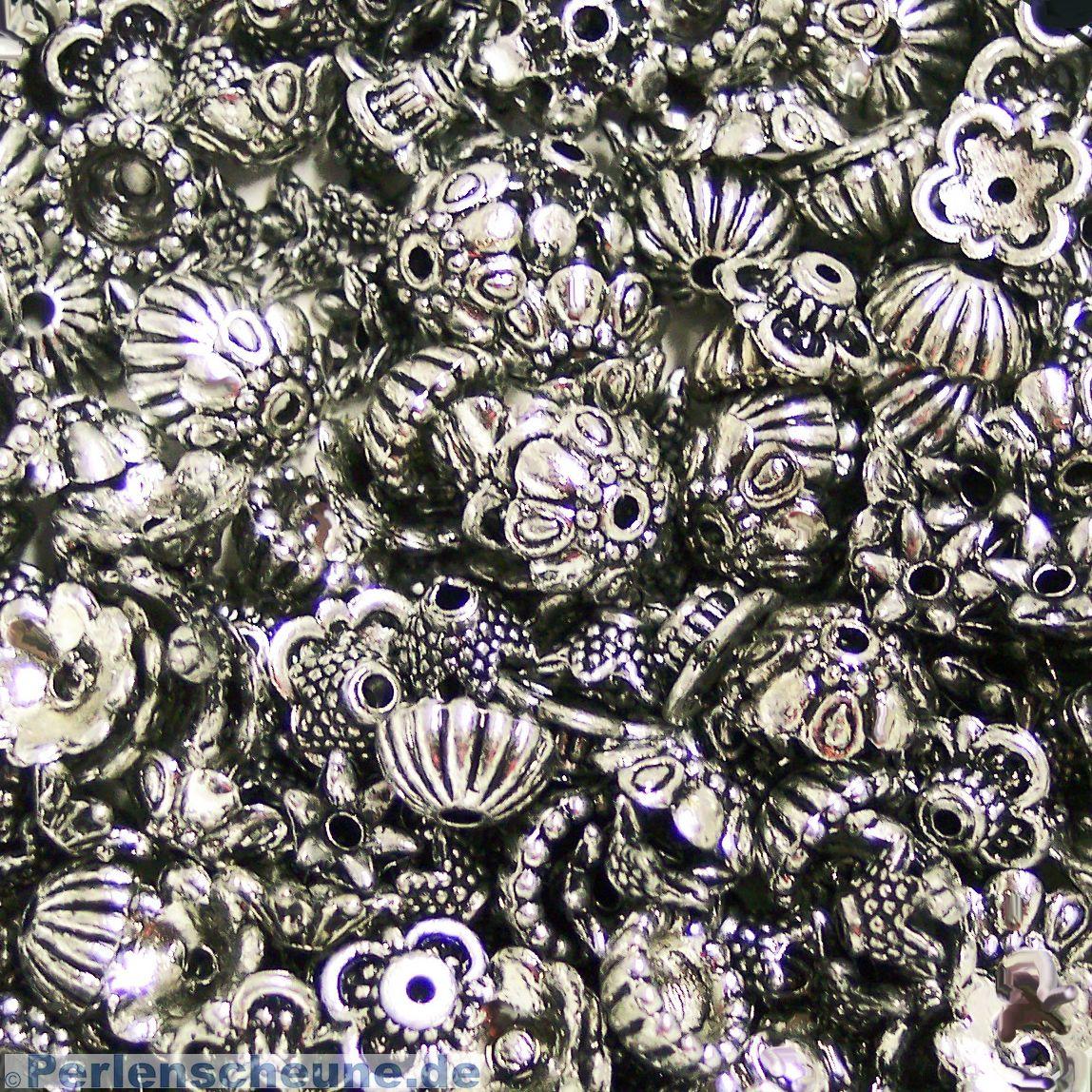 6,5 mm 50 kleine Perlkappen in silberfarben