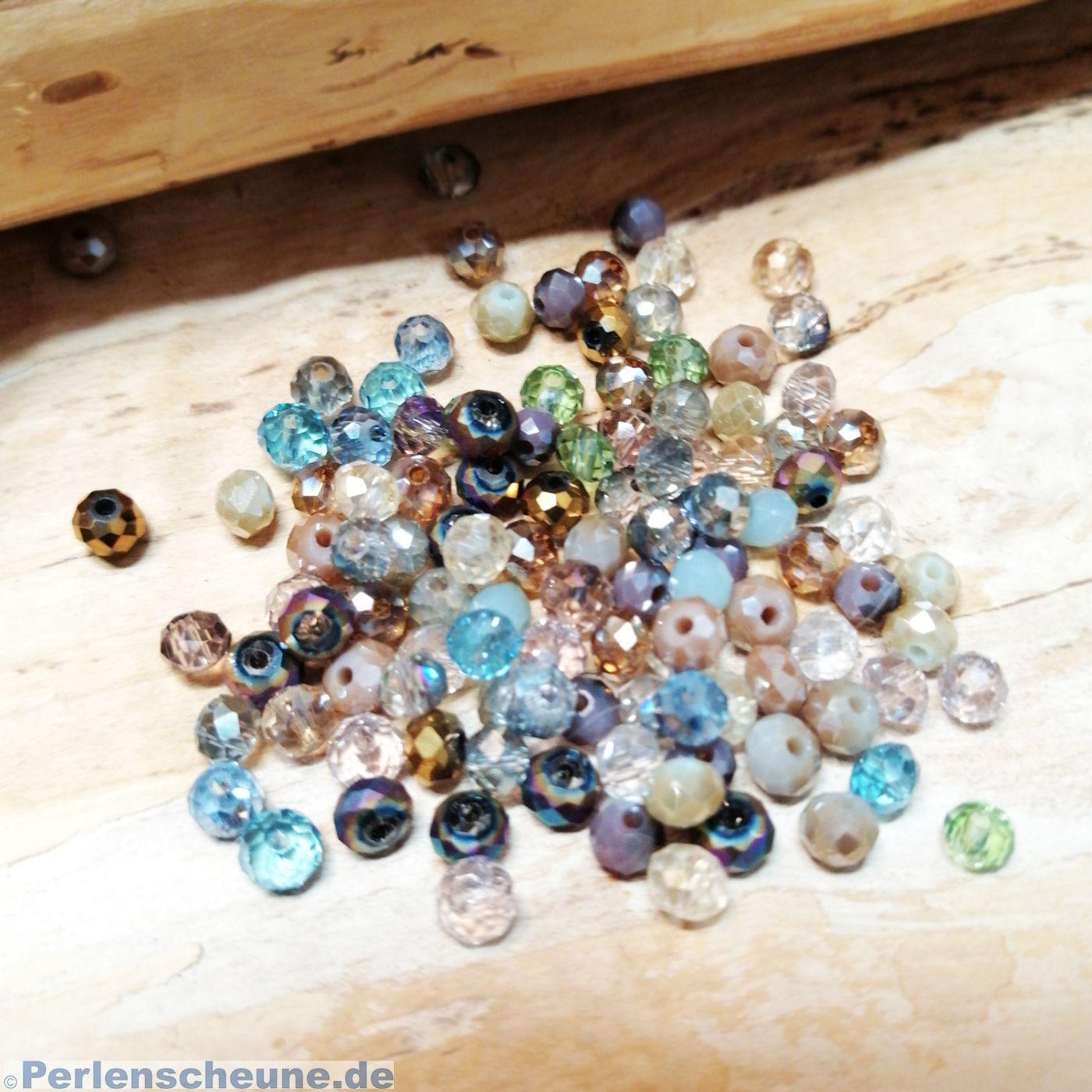 4 mm 100 x Böhmische Glasschliffperlen kristall; *2198