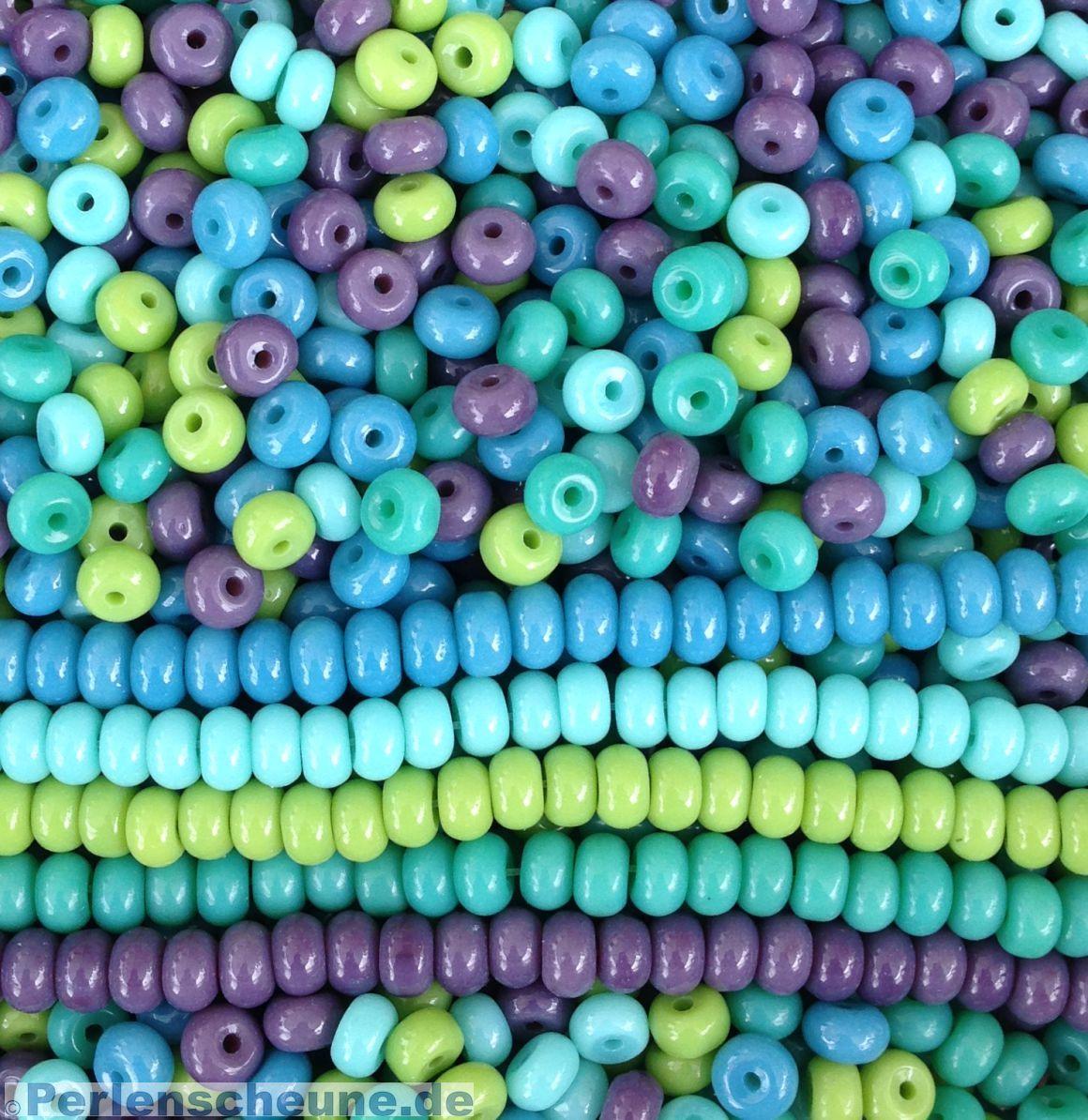 Hervorragend Glasperlen Rondelle 6 mm Rocailles blau grün DZ41