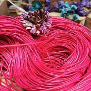 10 m Rolle Perlschnur 1 mm gewachste Baumwolle rosa