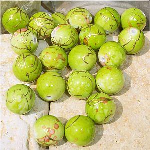 10 schöne große Draw Bench Perlen 14 mm moos grün