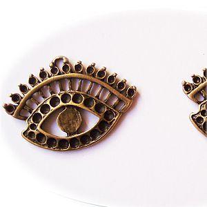 2 Metall Anhänger Auge 44 mm bronze antik