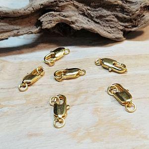 2 Metall Karabinerhaken Kettenverschlüsse mit Bindering 15 mm gold