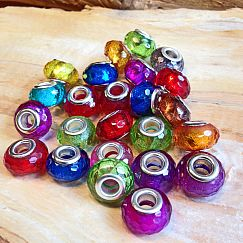 20 Modulperlen faceted bunter Mix mit Silberglitzer Loch 5 mm