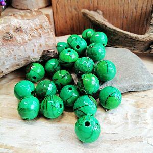 20 fancy Acrylperlen grün marmoriert 12 mm