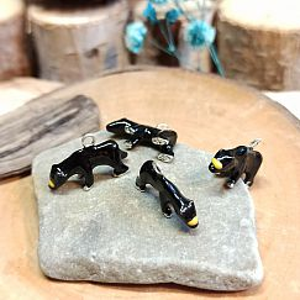 1 Stück 3D Kettenanhänger kleiner Bär Emaille schwarz silber