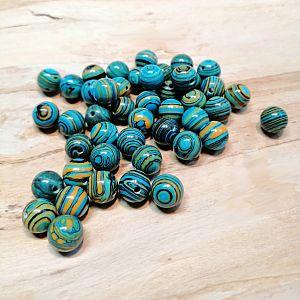 10 Halbedelsteinperlen Malachite türkisblau 8 mm